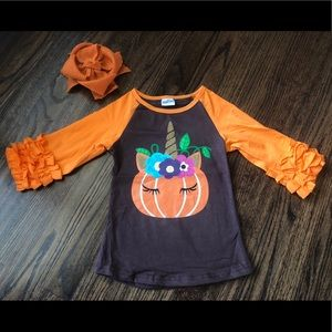 Other - New Unicorn Pumpkin ruffle top